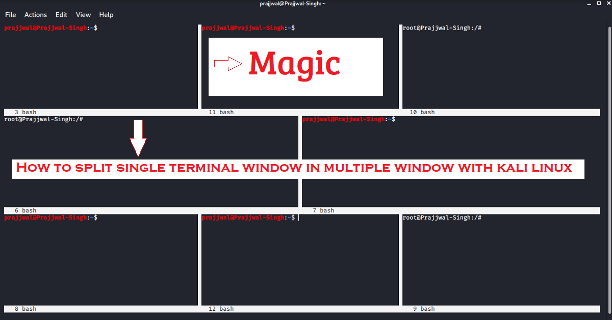 How to Split single Kali Linux terminal into multiple